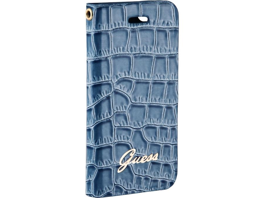 Чехол-книжка Guess Ultra Slim Wallet Case для Apple iPhone5, кожа / пластик, голубой